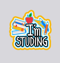 Studing sticker social media network message vector