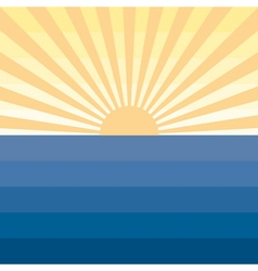 Sun with rays and sea Marine creative background vector