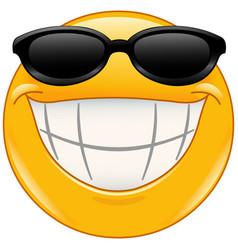 Sunglasses emoticon with big smile vector