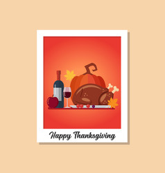 Thanksgiving dinner image on polaroid photo frame vector