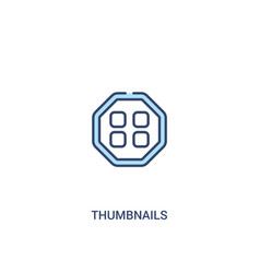 Thumbnails concept 2 colored icon simple line vector