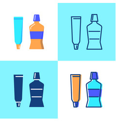 toothpaste and mouth wash icon set in flat vector image