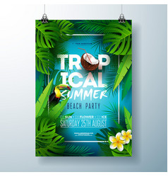 Tropical summer beach party flyer design with vector