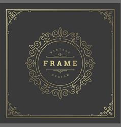Vintage flourishes ornament frame template vector