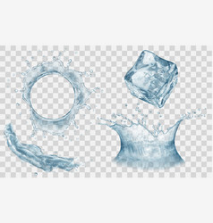 Water crown splash and ice cube vector