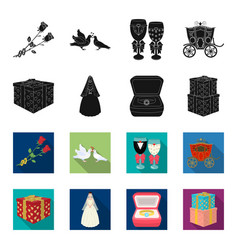 Wedding and attributes blackflet icons in set vector