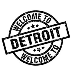 Welcome to detroit black stamp vector
