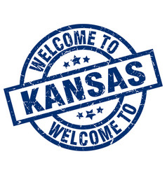 welcome to kansas blue stamp vector image
