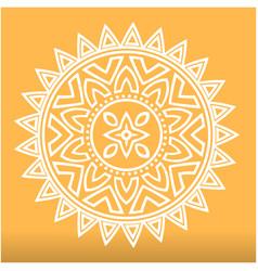 White abstract mandala orange background im vector