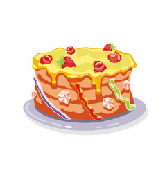 Whole torte gateau cake garnished with yellow vector
