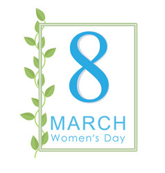 Women s day greeting card postcard on eighth vector