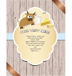 Wooden card with cow vector