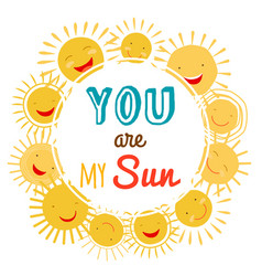 you are my sun printable banner with vector image
