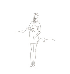 young woman expecting a child - one line design vector image