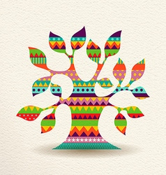 Colorful Tree design in fun geometric shape style vector image vector image