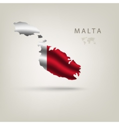 Flag of MALTA as a country with a shadow vector image vector image