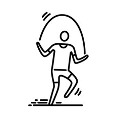 Thin line icon man exercising skipping rope vector