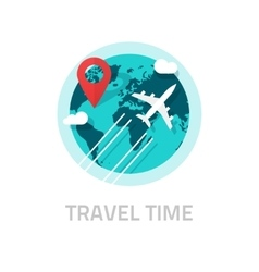 Travelling around world by plane travel vector image vector image
