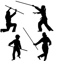 Aikido kids silhouettes vector image