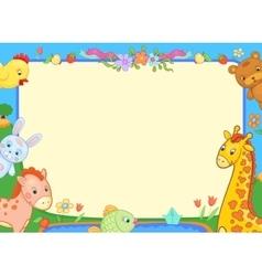 banner animals kindergarten funny flowers poster vector image vector image