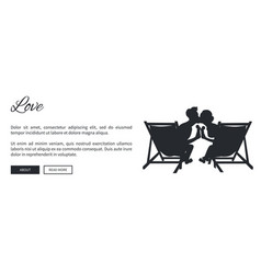 couple on sunbeds silhouette web banner vector image vector image