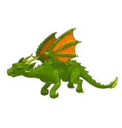 Green cartoon fantasy dragon vector image