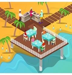 Isometric Beach Restaurant Beach BBQ vector image