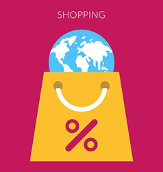 Shopping concept of bag with globe in flat vector image vector image