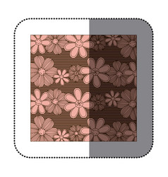 sticker color pattern of rows flowers with stripes vector image vector image