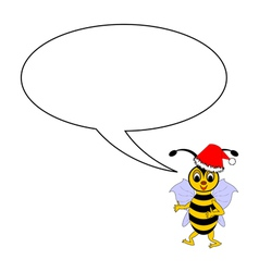 A funny Christmas bee with a talking bubble vector image