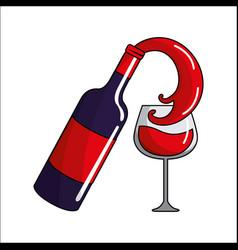 Bottle splashing wine in the glass icon vector