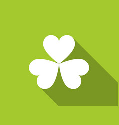 clover with a long shadow on green background vector image vector image