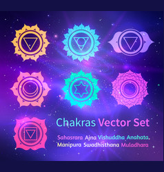 glowing chakras on space background vector image