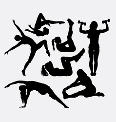 Spor training female health action silhouette vector