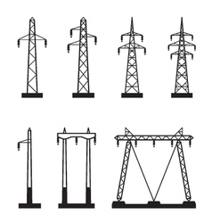 Electrical transmission tower types vector image vector image