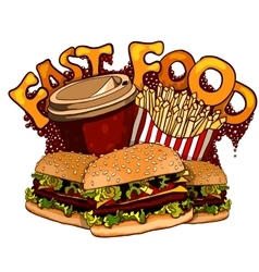 Fast food elements for design vector image