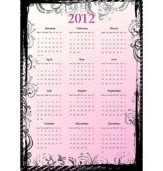 floral grungy calendar 2012 vector image