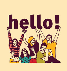 group young people and signs hello vector image vector image