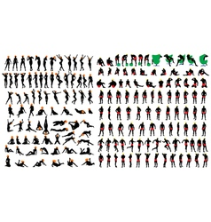 Naked girls and men silhouette set vector image