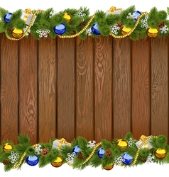 Seamless Christmas Board with Golden Beads vector image