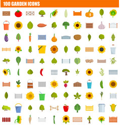 100 garden icon set flat style vector image