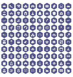 100 motherhood icons hexagon purple vector