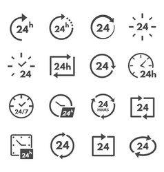 24 hours icon set twenty-four hours a day working vector image