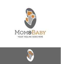 Abstract logo of a mother holding baby vector