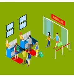 Airport Check-in Point with Isometric People vector