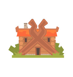 Ancient timbered log house vector