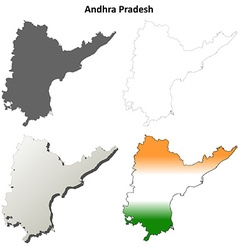 Andhra Pradesh blank outline map set vector image