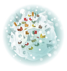 Around the world winter scenery vector