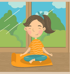 beautiful girl sitting in lotus position and vector image