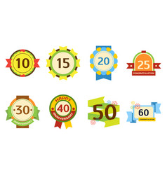 birthday badge banner design flat set celebration vector image vector image